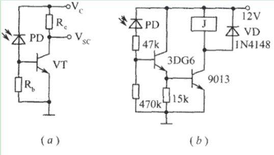 光敏三极管3DU5的暗电阻(无光照射时的电阻)大于1兆欧,光电阻(有光照射时的电阻)约为2千欧。开关管3DK7和3DK9共同作为光敏三极管3DU5的负载。当3DU5上有光照射时,它被导通,从而在开关管3DK7的基极上产生信号,使3DK7处于工作状态;3DK7则给3DK9基极上加一信号使3DK9进入工作状态,并输出约25毫安的电流,使继电器K通电工作,即它的常闭触点断开,常开触点导通。当光敏管3DU5上无光照射时,电路被断开,3DK7、3DK9均不工作,也无电流输出,继电器不动作,即常闭触点导通,常开触