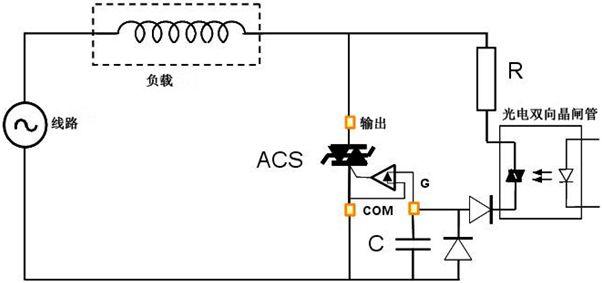 如何利用光电双向晶闸管实现acs交流开关触发电路