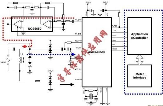 经隔离变压器或简单的线圈耦合至交流主电源