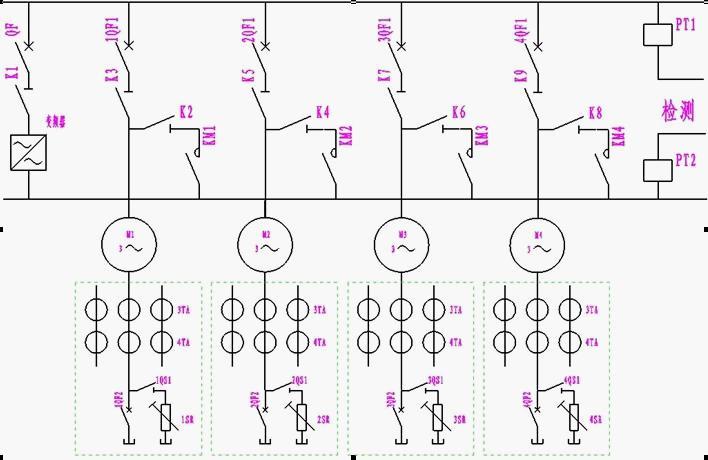 一拖四电气系统主回路接线图