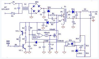 该电源电路的特点是在viper50的vdd,comp引脚之间增加由三极管vt1,vt2