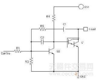 三极管开关电路作为功率管的控制应用广泛。这里对一个实用开关电路中的各元器件作用作具体分析。   三极管开关控制电路:    上图是一个小功率三极管控制大功率三极管(达林顿管)开关电路。   控制信号通过控制小功率三极管的开关来控制大功率管Q1的开关。   原理分析   三极管开关电路的基本原理就是控制三极管工作在截止区和饱和区工作。电路设计原则等不作赘述,一般的三极管电路参考书籍有介绍。在这里也只讨论图中这些阻容元器件的作用,不讨论其取值计算(因为取值计算需要选定三极管,而且颇为简单)。   图中R1