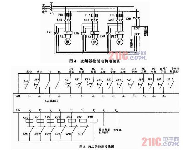 fu输出至plc的x2与x3输入端作为plc增泵减泵控制信号
