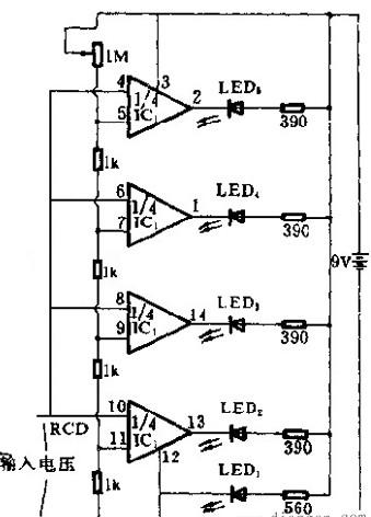 发光二极管电压测量的电路图